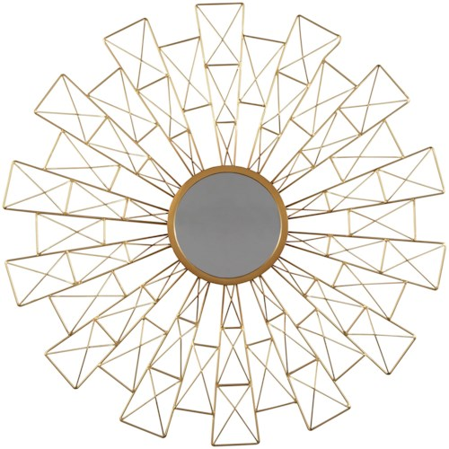 Signature Design by Ashley Accent Mirrors Emberlei Gold Finish Accent Mirror