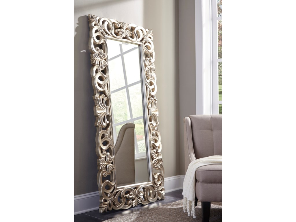 Signature Design Accent MirrorsLucia Antique Silver Finish Accent Mirror