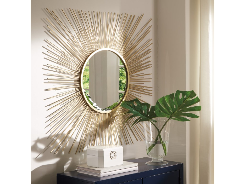 Signature Design Accent MirrorsElspeth Gold Finish Accent Mirror