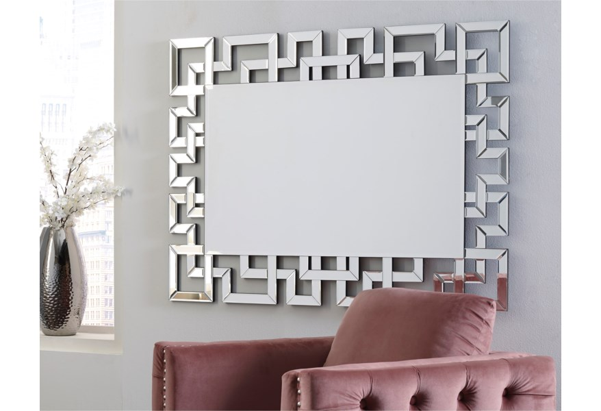 Accent Mirrors Jasna Greek Key Accent Mirror by Ashley Signature Design at  Dunk & Bright Furniture