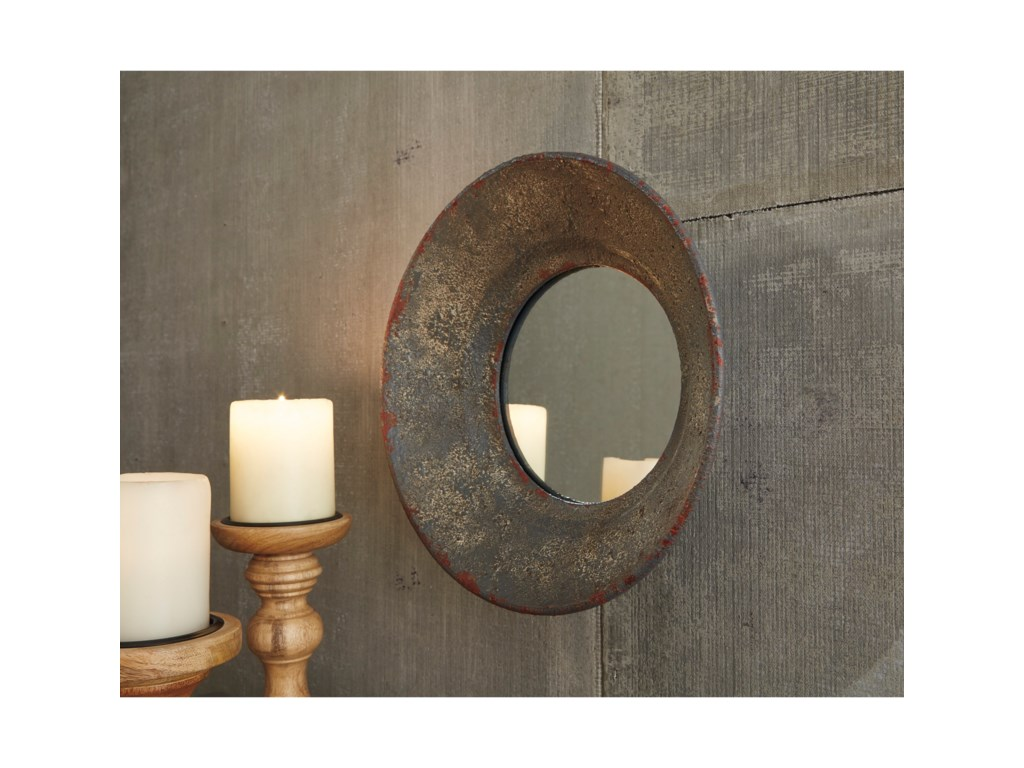 Ashley (Signature Design) Accent MirrorsCarine Distressed Gray Accent Mirror