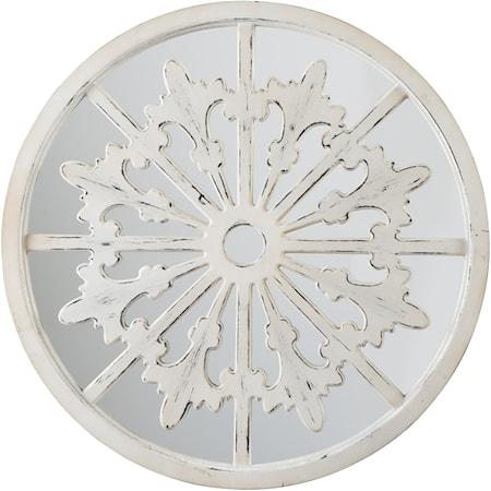 Emlen Antique White Accent Mirror