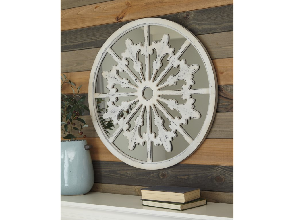 Ashley (Signature Design) Accent MirrorsEmlen Antique White Accent Mirror