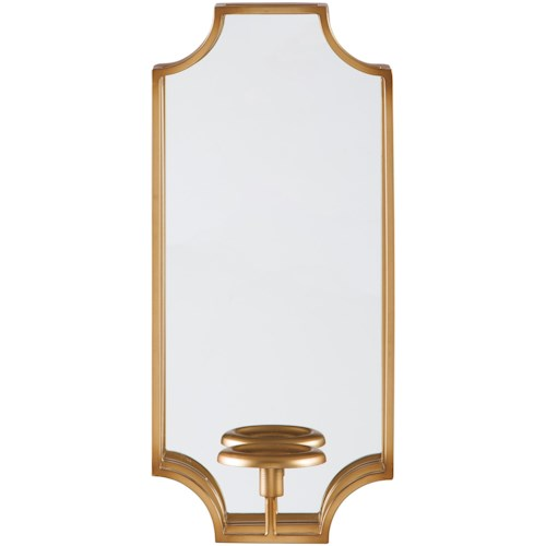 Signature Design by Ashley Accent Mirrors Dumi Gold Finish Wall Sconce/Mirror