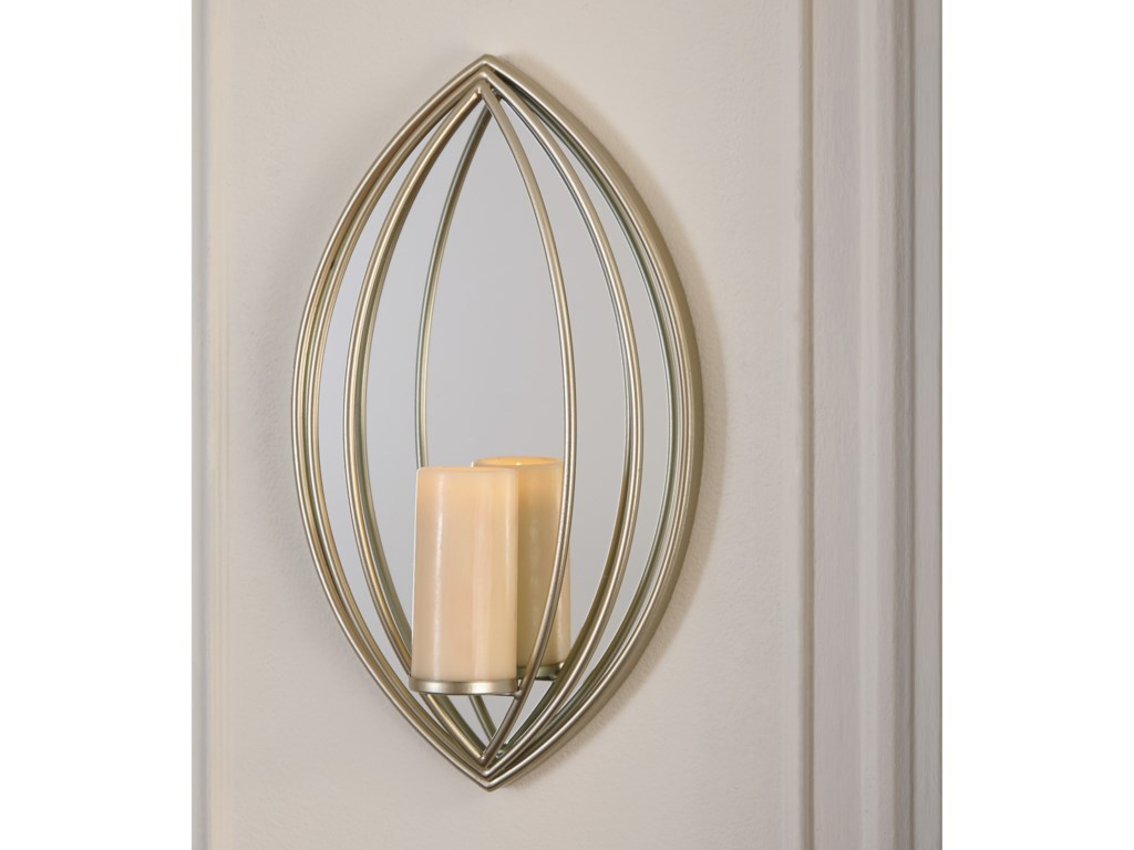 Ashley Signature Design Accent MirrorsDonnica Silver Finish Wall Sconce