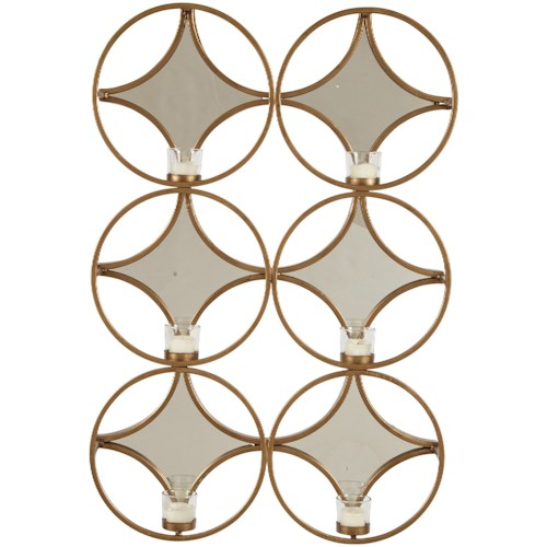 Signature Design by Ashley Accent Mirrors Emilia Gold Finish Wall Sconce/Mirror