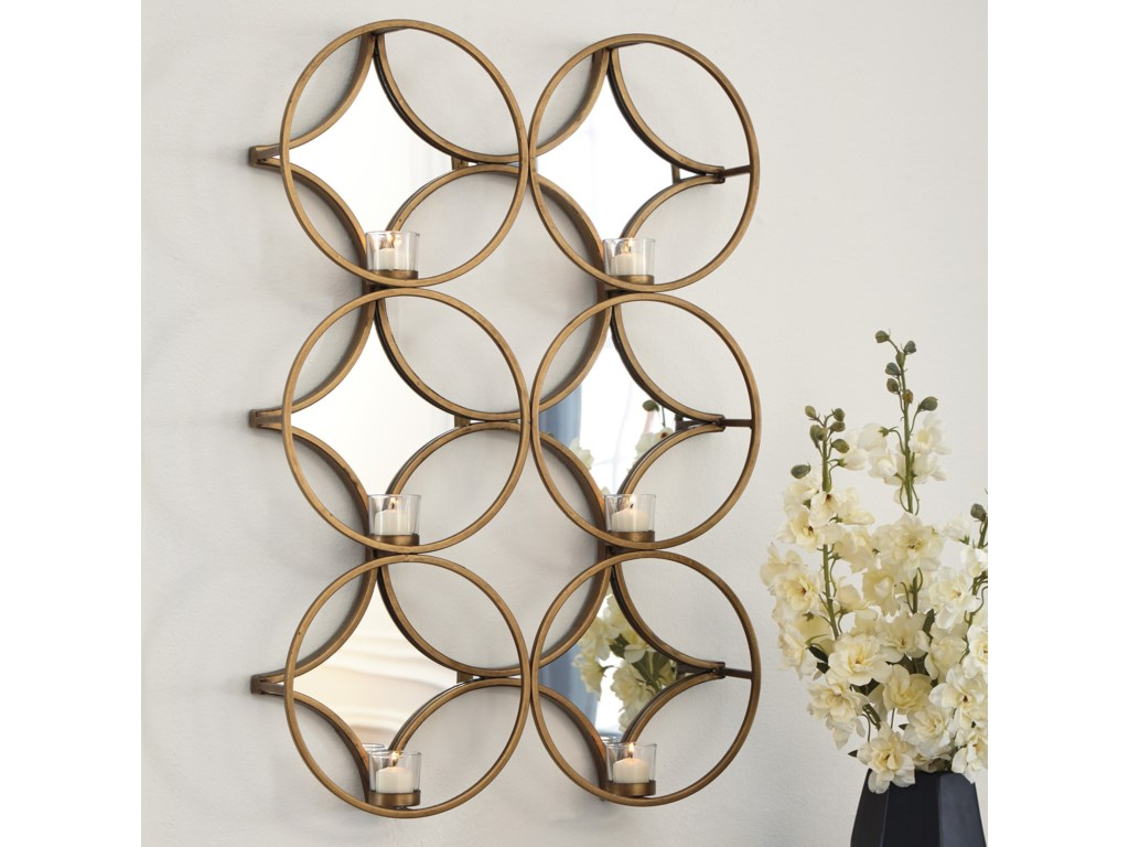Signature Design by Ashley Accent MirrorsEmilia Gold Finish Wall Sconce