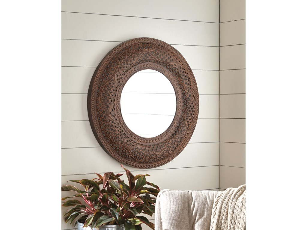 Ashley (Signature Design) Accent MirrorsElikapeka Antique Brown Accent Mirror