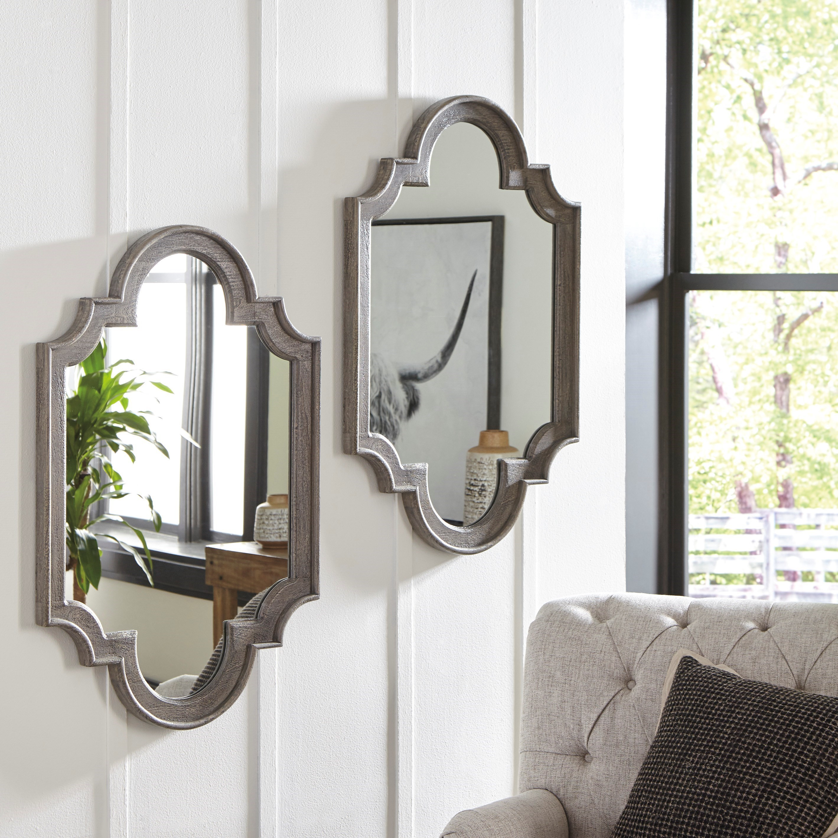 Signature Design By Ashley Accent Mirrors Williamette Antique Gray Accent Mirror Royal Furniture Wall Mirrors