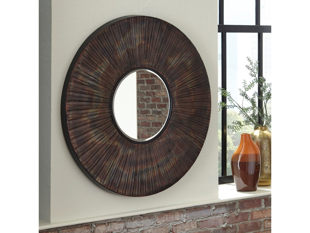 Ashley (Signature Design) Accent MirrorsBartleby Copper/Bronze Finish Accent Mirror