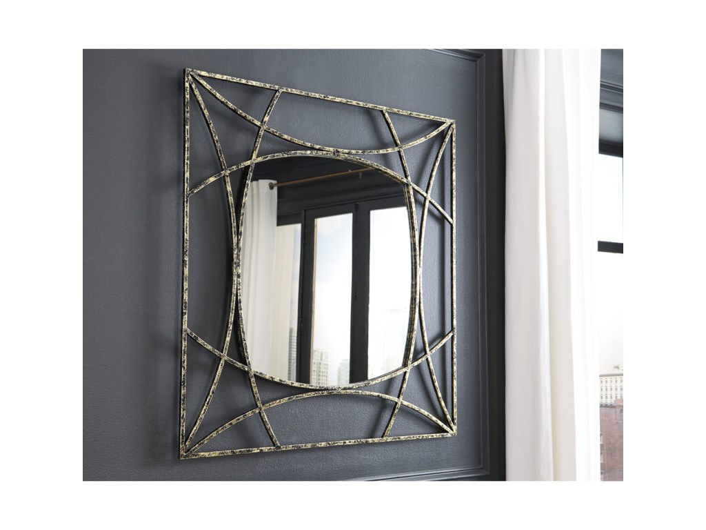Signature Design by Ashley Accent MirrorsKeita Black/Gold Finish Accent Mirror