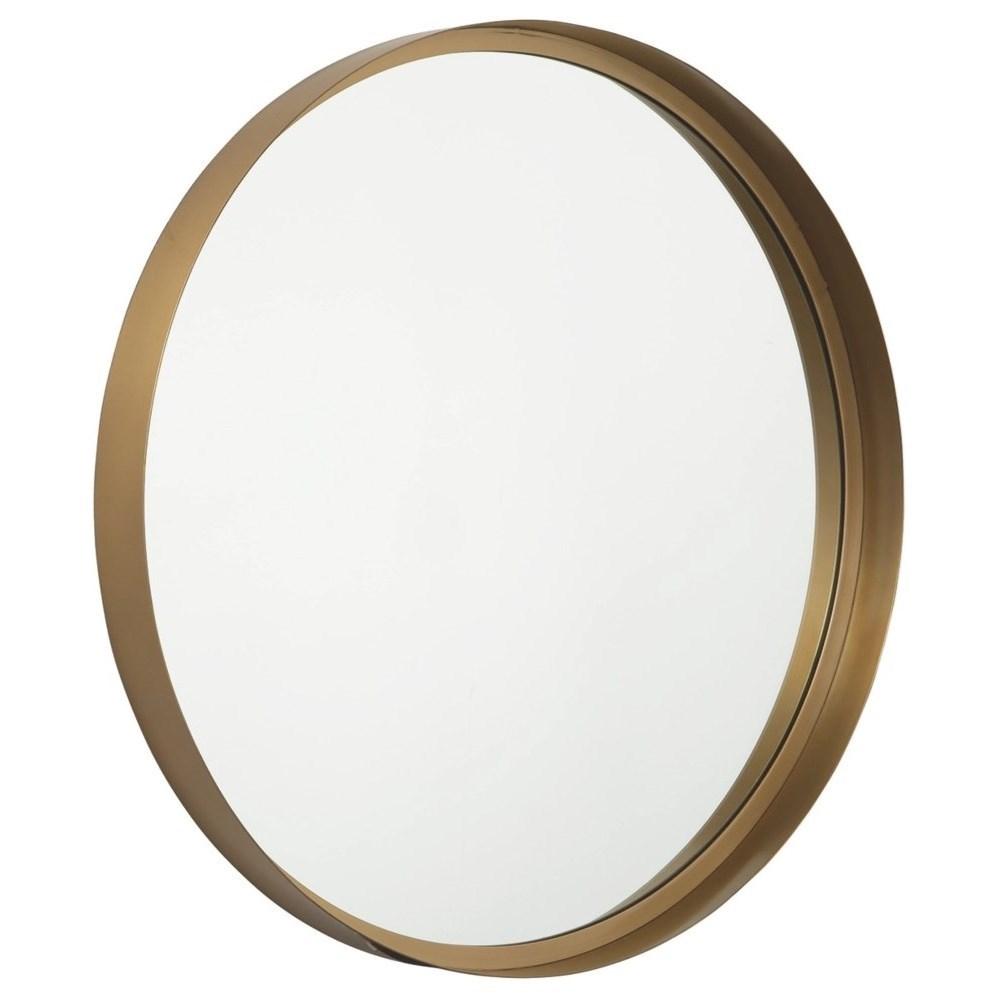 Elanah Gold Finish Round Accent Mirror