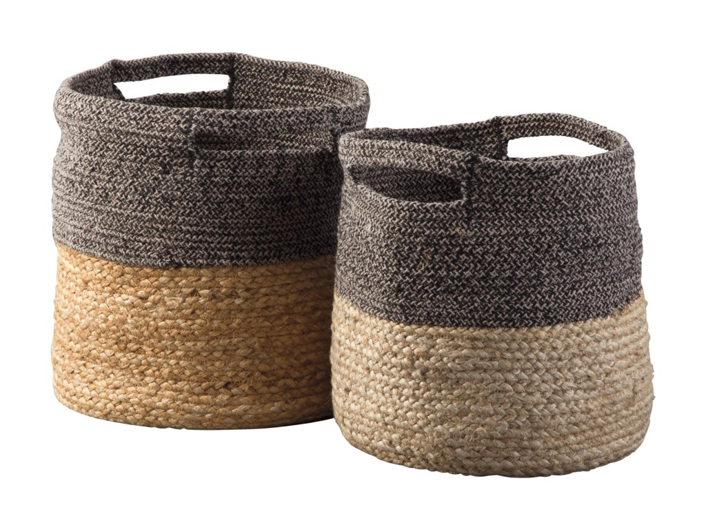 Signature Design by Ashley AccentsParrish Natural/Black Basket Set