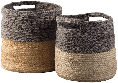 Signature Design by Ashley Accents Parrish Natural/Black Basket Set