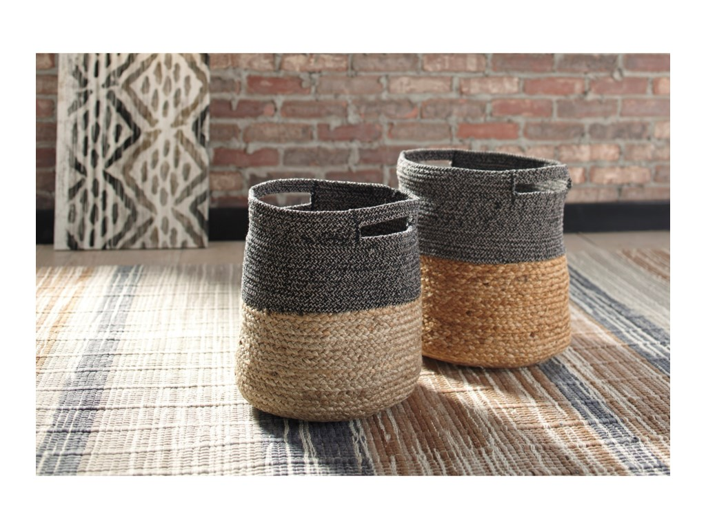 Ashley (Signature Design) AccentsParrish Natural/Black Basket Set