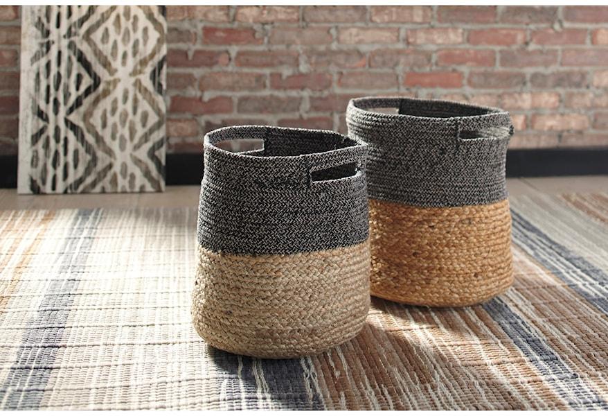 Signature Design by Ashley Accents Parrish Natural/Black Basket Set