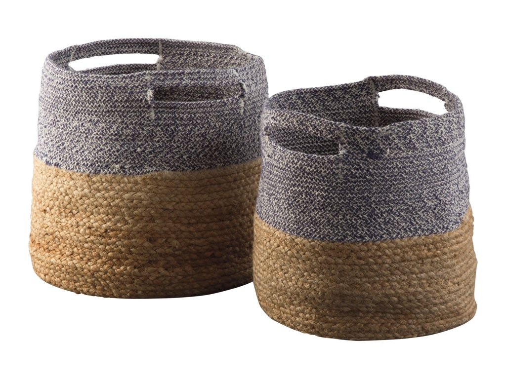 Ashley Signature Design AccentsParrish Natural/Blue Basket Set