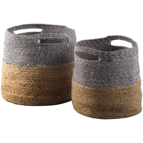 Signature Design by Ashley Accents Parrish Natural/Blue Basket Set