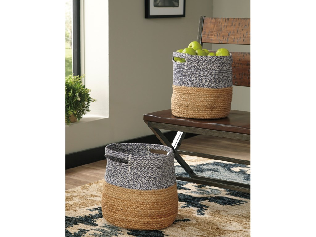 Signature Design by Ashley AccentsParrish Natural/Blue Basket Set