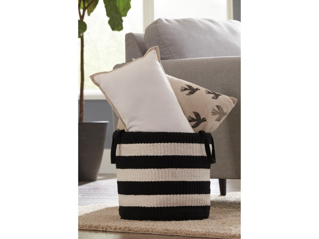 Ashley (Signature Design) AccentsEdgerton Black/White Basket