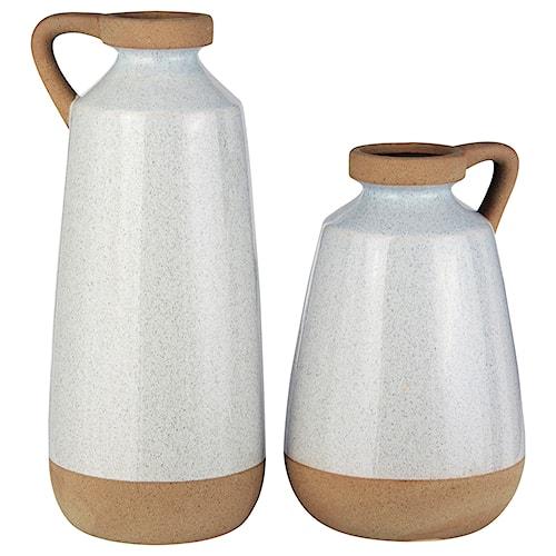 Signature Design by Ashley Accents Tilbury Cream Glazed Ceramic Vase Set