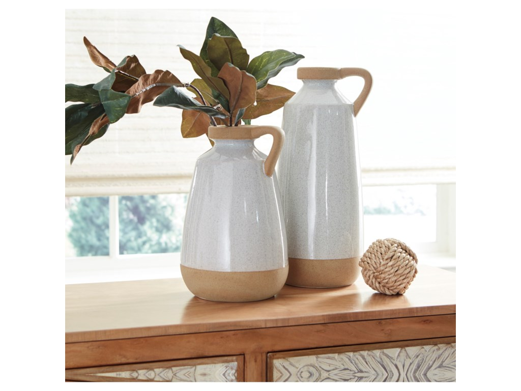 Signature Design by Ashley AccentsTilbury Cream Glazed Ceramic Vase Set