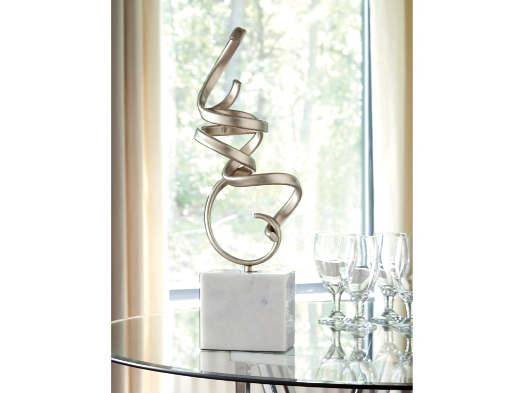 Signature Design by Ashley AccentsPallaton Champagne Finished/White Sculpture