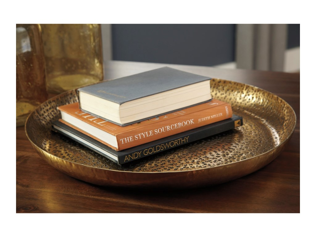 Signature Design by Ashley AccentsMorley Antique Brass Finish Tray