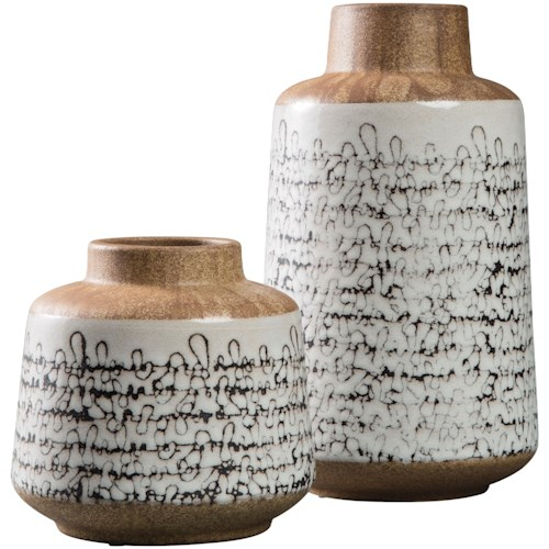 Signature Design by Ashley Accents Meghan Tan/Black Vase Set