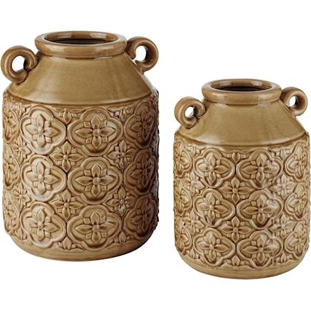 Edaline Ochre Glazed Ceramic Vase Set