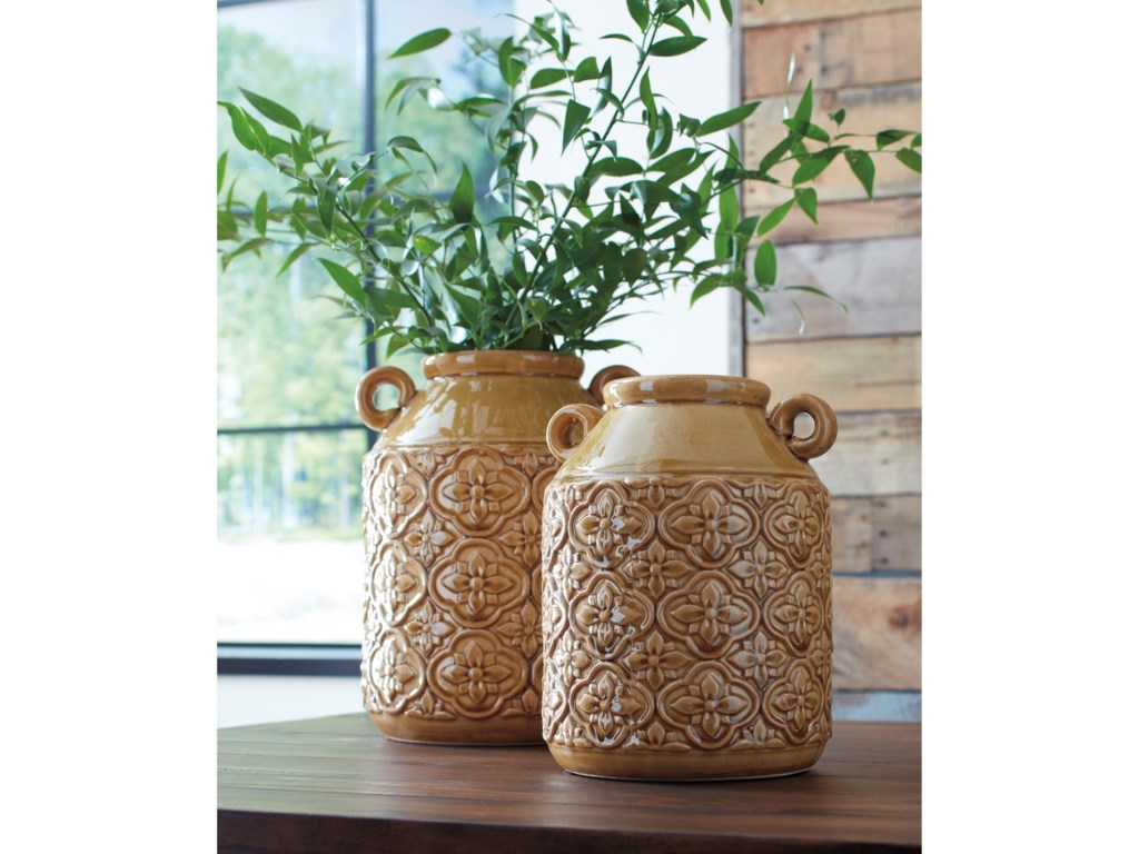 Ashley Signature Design AccentsEdaline Ochre Glazed Ceramic Vase Set