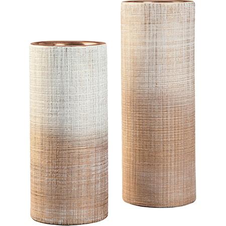 Dorotea Gold Finish/White Vase Set