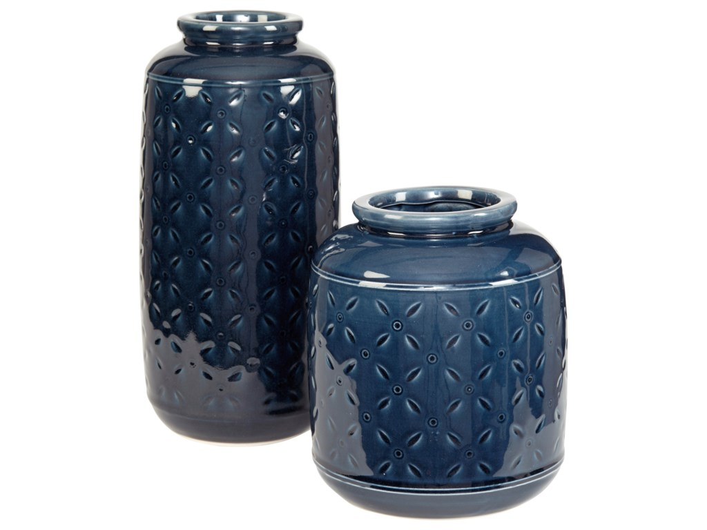 Signature Design AccentsMarenda Navy Blue Vase Set