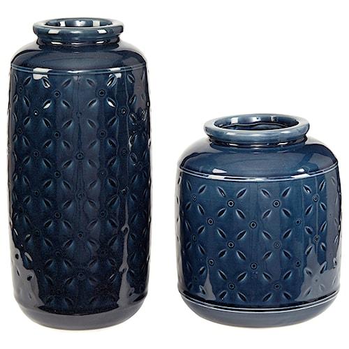 Signature Design by Ashley Accents Marenda Navy Blue Vase Set