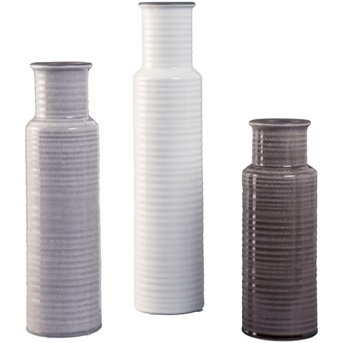 Signature Design by Ashley Accents Deus Gray/White/Brown Vase Set