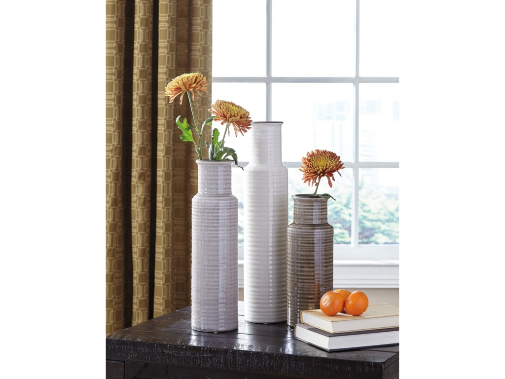 Signature Design by Ashley AccentsDeus Gray/White/Brown Vase Set