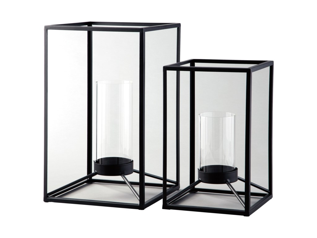 Ashley Signature Design AccentsDimtrois Black Lantern Set