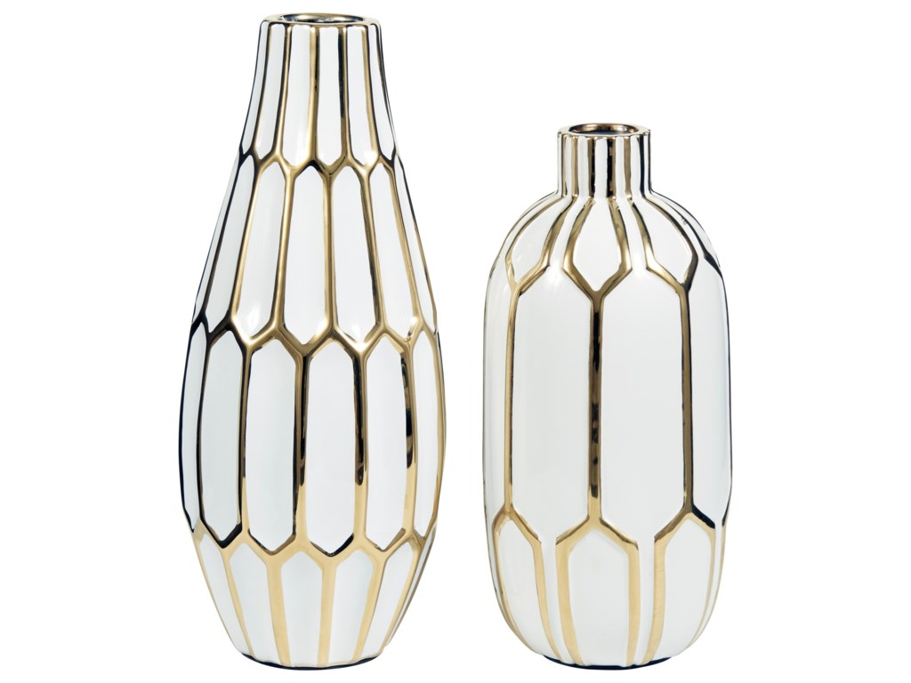 Signature Design by Ashley AccentsMohsen Gold Finish/White Vase Set