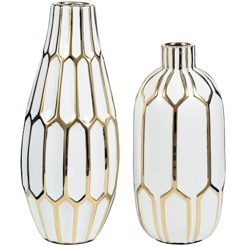 Signature Design by Ashley Accents Mohsen Gold Finish/White Vase Set