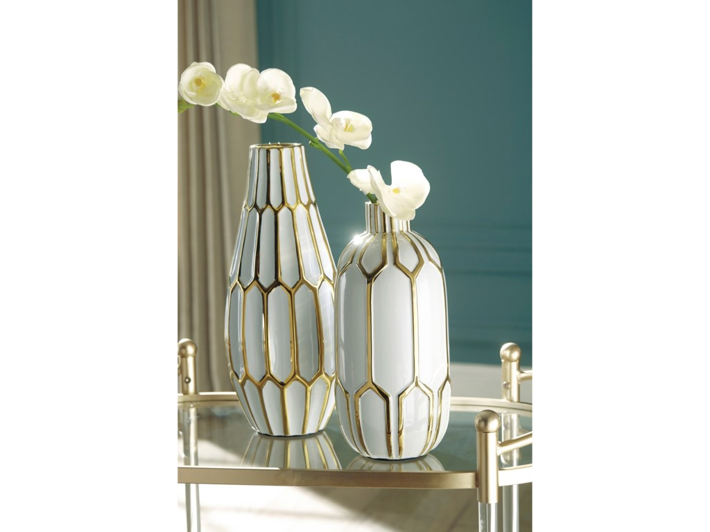 Ashley (Signature Design) AccentsMohsen Gold Finish/White Vase Set