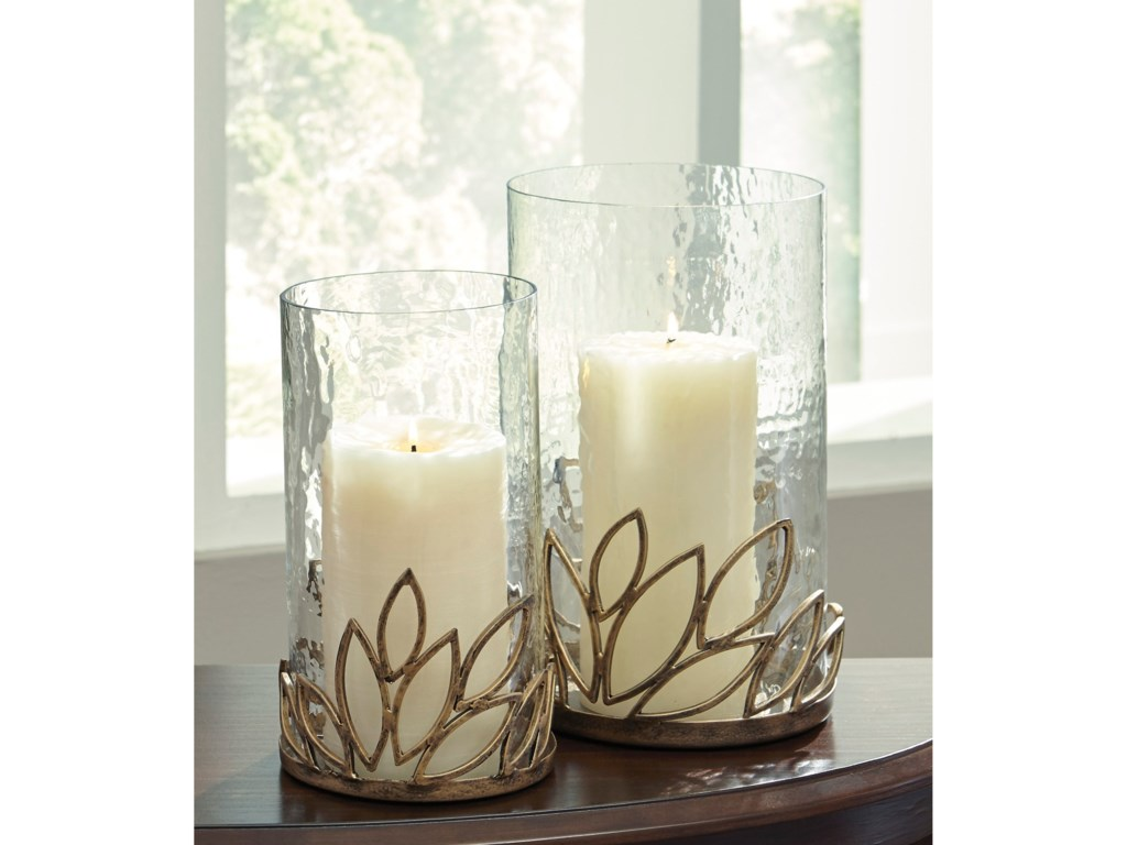 Ashley Signature Design AccentsPascal Antique Gold Finish Candle Holder Set