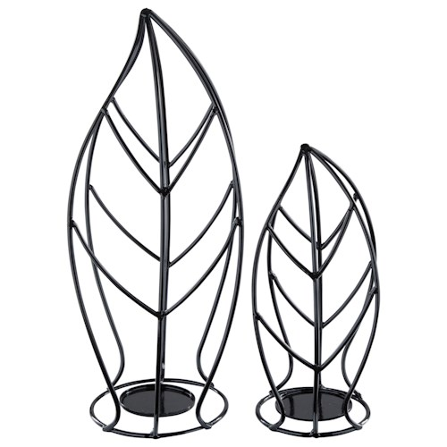 Signature Design by Ashley Accents Cadelaria - Black Candle Holder (Set of 2)