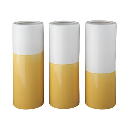 Signature Design by Ashley Accents Dalal Yellow/White Vases (Set of 3)