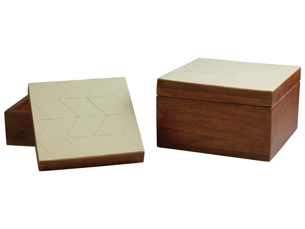 Signature Design by Ashley AccentsKabecka Brown/Cream Boxes (Set of 2)