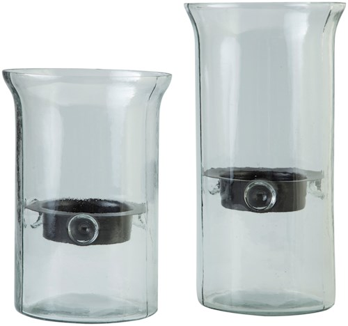 Signature Design by Ashley Accents Kadeem Clear Candle Holders (Set of 2)