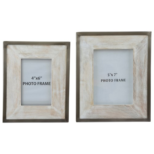 Signature Design by Ashley Furniture Accents Kadija White Wash/Silver Finish Photo Frame (Set of 2)