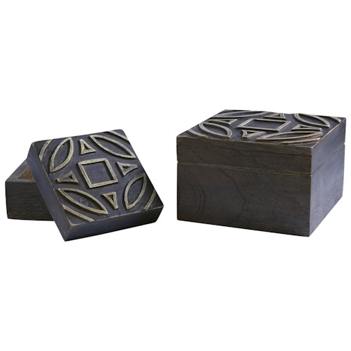 Signature Design by Ashley Accents Marquise Antique Black Boxes (Set of 2)
