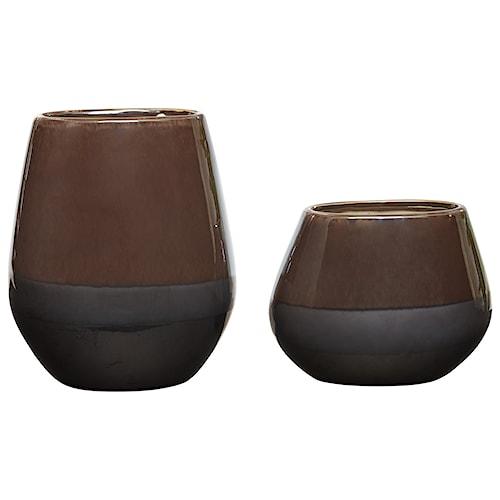 Signature Design by Ashley Accents Emiliano Taupe Vase Set