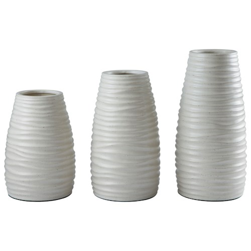 Signature Design by Ashley Furniture Accents Kaemon White Vase (Set of 3)