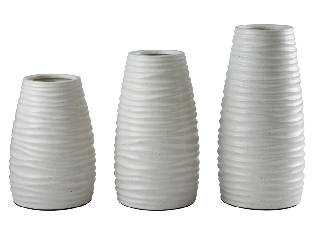 Signature design by ashley accents a2000194v kaemon white vase signature design by ashley accents a2000194v kaemon white vase set of 3 household furniture vasesurns reviewsmspy